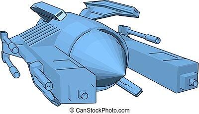 azul, sci-fi, luz, cruzador batalha, ilustração, vetorial, fundo, branca