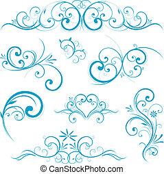 azul, scroll, forma