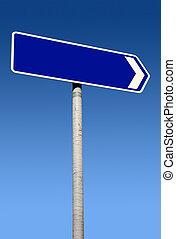 azul, señal de dirección, con, espacio, para, text.