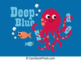 azul, sea., profundo