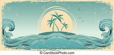 azul, seascape, horizon., vetorial, grunge, imagem, com, tropicais, palmas, ligado, antigas, papel, textura