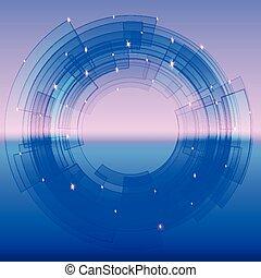 azul, segmentado, círculo, retro-futuristic, fundo