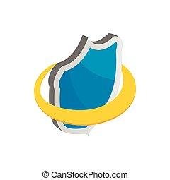 azul, segurança, escudo, ícone, isometric, 3d, estilo