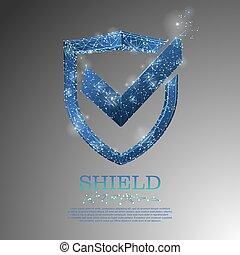 azul, segurança, escudo, proteção dados, baixo, poly, vetorial