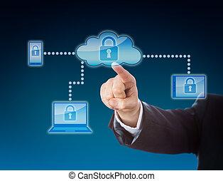 azul, seguridad, metáfora, nube, informática