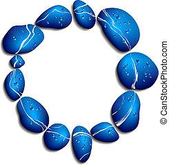 azul, seixos, círculo, fundo