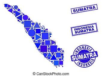 azul, sellos, geométrico, mosaico, mapa, sumatra