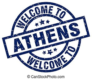 azul, selo, bem-vindo, Atenas