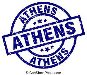azul, selo,  grunge, Atenas, redondo