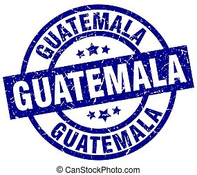 azul, selo, guatemala, grunge, redondo