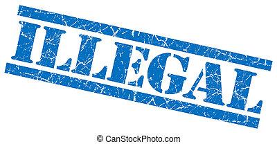 azul, selo, ilegal, fundo, grungy, branca