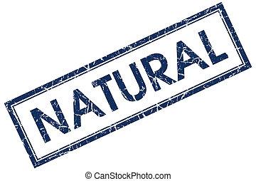 azul, selo, quadrado, natural
