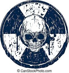 azul, selo, redondo, cranio