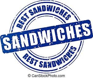 azul, selo, sanduíches