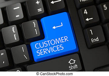 azul, servicios de cliente, botón, en, keyboard., 3d.