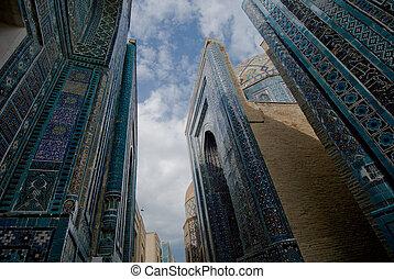 azul, shahi-zinda, fachadas, uzbekistán, samarkand,...