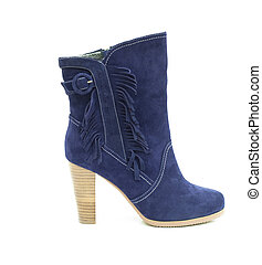 azul, shammy, botina, isolado, femininas, branca