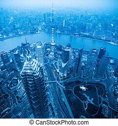 azul, shanghai, tono, anochecer