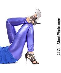 azul, shimmering, leggins, sexy, elegante, piernas