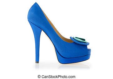 azul, shoes, aislado, en, el, blanco
