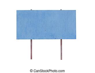 azul, signboard, aislado, blanco