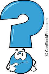 azul, signo de interrogación, pensamiento