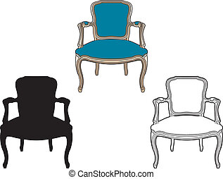 azul, sillón, estilo