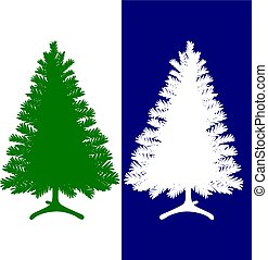azul, silueta, árvore, fundo, verde branco, christmas branco
