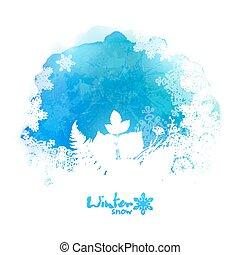 azul, silueta, copos de nieve, acuarela, vector, follaje, ...
