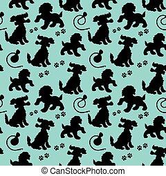 azul, silueta, luz, cão, padrão, seamless, correia, fundo, pretas, rastro