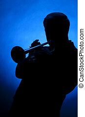 azul, silueta, luz, punto, contra, jugador, trompeta
