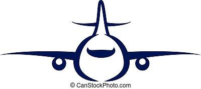 azul, silueta, símbolo, frente, avión, icono, vista