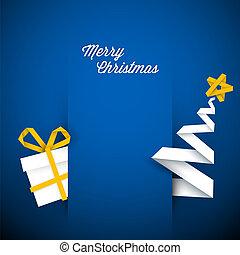 azul, simple, ilustración, vector, tarjeta de navidad