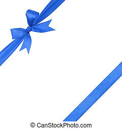 azul, simples, amarrada, arco, composição, fita