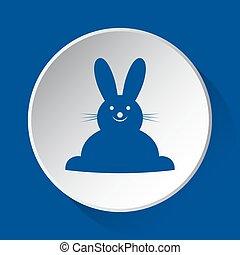 azul, simples, botão, -, coelho, sorrindo, branca, ícone