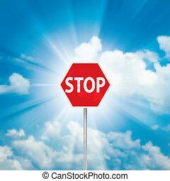 azul, sinal parada, nuvens, céu