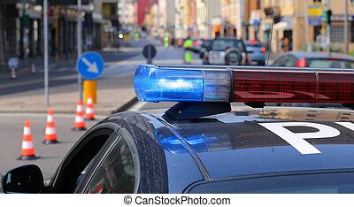 azul, sirenas, policía, ciudad, coche, barricada, durante