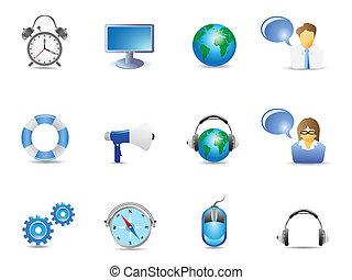 azul, site web, ícones internet