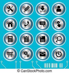 azul, sitio web, conjunto, iconos