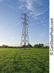 azul, sky., electricidad, campo, verde, pilón