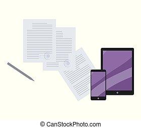azul, smartphone, documentos, fundo, tabuleta, texto, isolado, vetorial, selos, stylus, telefone, computador pena, papel, folhas, branca, composição, redondo