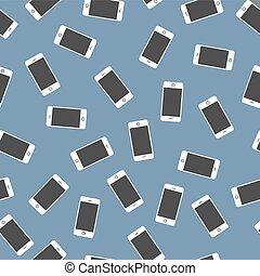 azul, smartphones, muchos, seamless, pauta fondo, blanco