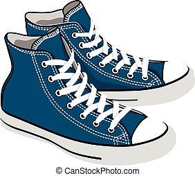 azul, sneakers, caricatura