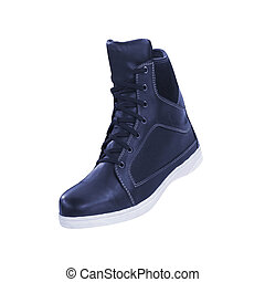 azul, sneakers, isolado, branco, fundo