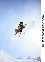 azul, snowboarder, sky., ar, pular, através
