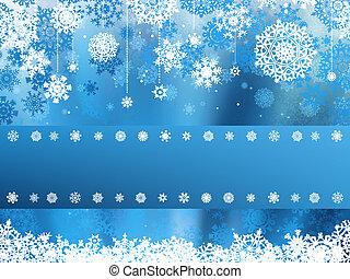 azul, snowflake., eps, natal, 8
