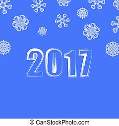 azul,  Snowflake, fundo, Inverno