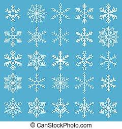azul, snowflakes, fundo, branca