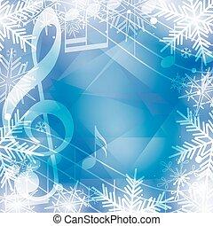 azul, snowflakes, notas, feriados, vetorial, música, fundo, natal