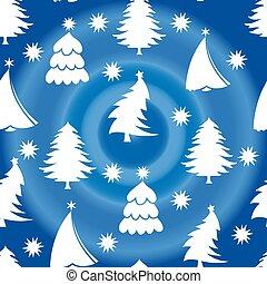 azul, snowflakes, seamless, padrão, árvore, fundo, christmas branco